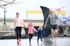 Lucy Evangelista with daughter, Leila, son Luke and husband, Matt McCullough pictured at the launch of Centra Run Together. Following the success of the inaugural Centra Run Together initiative in 2016 the series will now include SIX 5k events between April and October 2017 which participants are encouraged to run, walk or jog. Two events will take place in Belfast and further 5ks will be held in Derry/Londonderry, Antrim and new for 2017 - Fermanagh and Tyrone. Centra Run Together is a Live Well initiative, sponsored by Deep RiverRock and Müller and is designed to feed the recent upsurge in 'social runners' across Northern Ireland, encouraging communities across Northern Ireland to get up and active together. This year the event is completely free to enter but participants are encouraged to make a donation to Action Cancer in lieu of an entry fee. All participants will receive a Centra Run Together T-shirt and bespoke medal as well as giveaways at the events. For further information and details of how to register visit www.centra.co.uk/runtogether or the Centra Facebook page, www.facebook.com/CentraNI Picture by Darren Kidd, Press Eye.